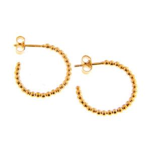 Χρυσοί κρίκοι 14Κ με μικρές μπίλιες καθ' όλη την περίμετρο τους. Κομψοί κρίκοι ιδανικοί να φορεθούν όλες τις ώρες. Διάμετρος 2 εκ.