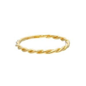 Χρυσό δαχτυλίδι 14Κ σε λεπτή γραμμή και στριφτό σχέδιο. Ιδανικό να φορεθεί μόνο του όπως και μαζί με άλλα δαχτυλίδια καθ' όλη τη διάρκεια της ημέρας.
