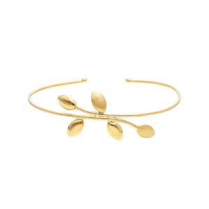 Χρυσή χειροπέδα 14Κ τύπου bangle σε minimal γραμμή με σχέδιο φύλλων