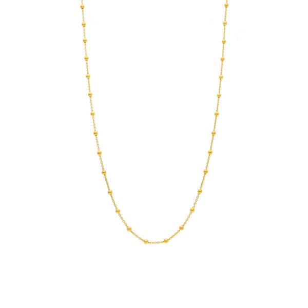 Ασημένιο επίχρυσο κολιέ με κλασική αλυσίδα διακοσμημένη με λουστρέ μπιλάκια (πάχους 0.3 εκ). Ιδανικό να φορεθεί όλες τις ώρες.