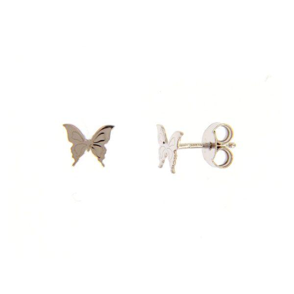 Μικρά ασημένια σκουλαρίκια σε σχήμα πεταλούδας (διάμετρος 0.9 εκ)