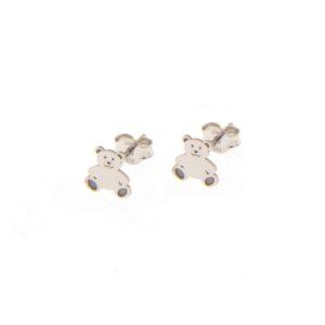 Ασημένια σκουλαρίκια με μοτίφ που απεικονίζουν αρκουδάκια (0.7 x 0.7 εκ)