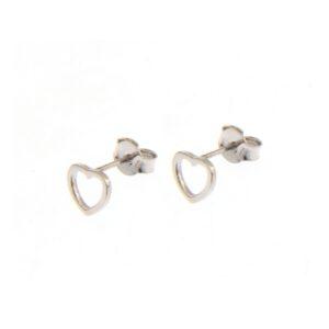 Ασημένια σκουλαρίκια με διάκενο μοτίφ σε σχήμα καρδιάς (διάμετρος 0.8 εκ)