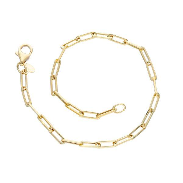 Λεπτό χρυσό βραχιόλι 14Κ (φάρδος 0.3 εκ) με οβάλ στενόμακρους κρίκους. Ένα κλασικό και μοντέρνο βραχιόλι ιδανικό να φορεθεί όλες τις ώρες της ημέρας.