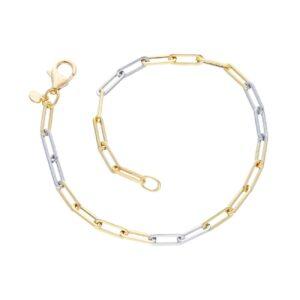 Δίχρωμο χρυσό βραχιόλι 14Κ (λευκό και κίτρινο)