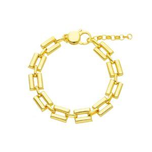 Ασημένιο κίτρινο επίχρυσο βραχιόλι με φαρδιοί παραλληλόγραμμοι κρίκοι (φάρδος 0.9 εκ) που ενώνονται με μικρότερους οβάλ κρίκους.