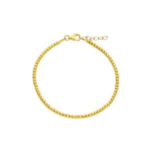 Ασημένιο κίτρινο επίχρυσο βραχιόλι με αλυσίδα και ταγιέ τετραγωνισμένα μπιλάκια (2.5mm) που χαρίζουν ιδιαίτερη λάμψη.