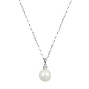 Ασημένιο κολιέ αλυσίδα με κρεμαστό μενταγιόν από μαργαριτάρι (πάχους 0.4 εκ) και ζιργκόν στο πάνω μέρος. Ιδανικό να φορεθεί όλες τις ώρες