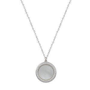 Ασημένιο κολιέ με κλασική αλυσίδα και κρεμαστό μενταγιόν σε κυκλικό σχήμα. Το μενταγιόν αποτελείται από mother of pearl και λευκά ζιργκόν