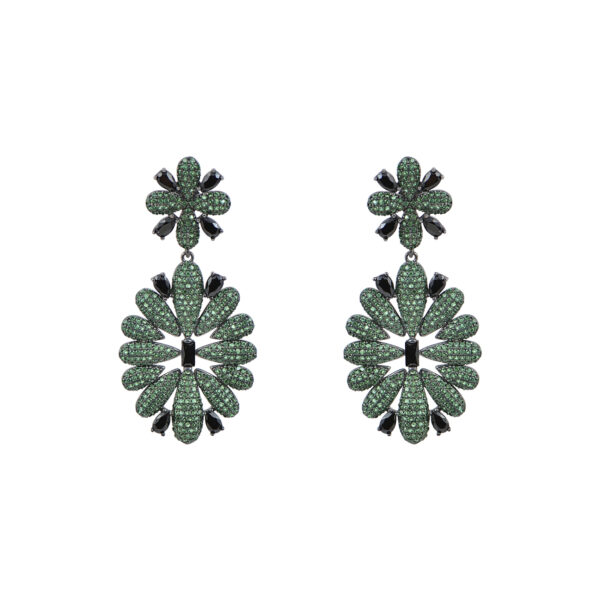 Ασημένια μαύρα επιπλατινωμένα κρεμαστά σκουλαρίκια σε σχήμα λουλουδιού με μαύρα και πράσινα ζιργκόν