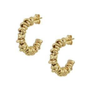 Ασημένια κίτρινα επίχρυσα σκουλαρίκια κρίκοι που αποτελούνται από μικρές ροδέλες με μικρή κίνηση. Στέκεται στον λοβό του αυτιού με βελόνα