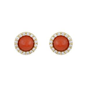 Ασημένια ροζ επίχρυσα σκουλαρίκια σε στρογγυλό σχήμα με κοράλλι στο κέντρο και ζιργκόν περιμετρικά του.